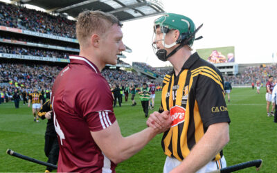 Joe Canning shakes hands with Henry Shefflin at the end of the GAA Hurling Senior Championship Final Replay